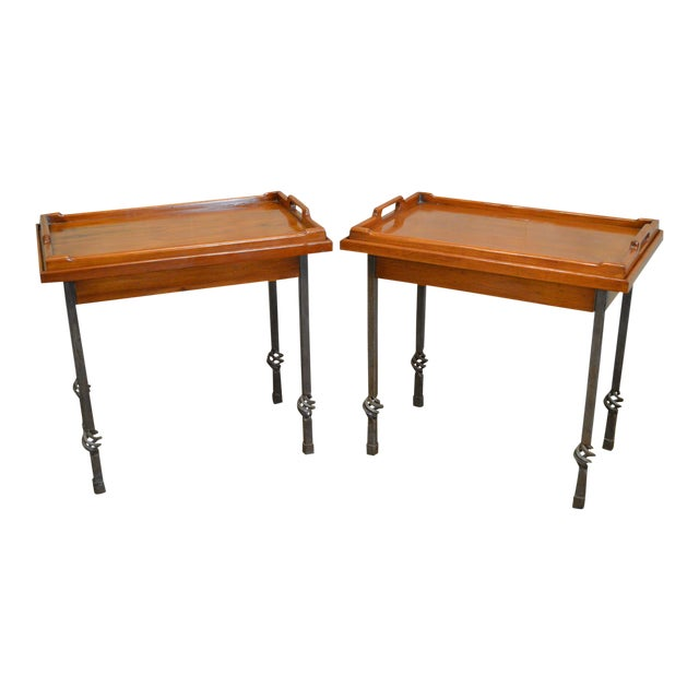 Custom Pair of Iron Base Tray Top Side Tables - Image 1 of 11