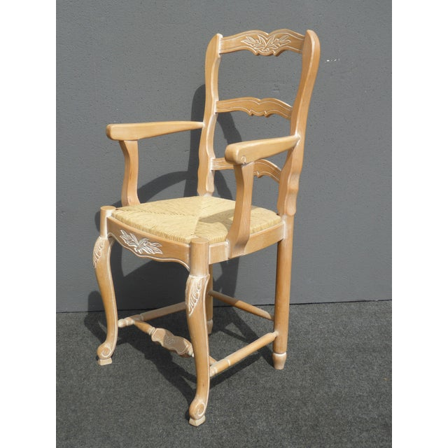 french country carved wood rush seat dining chairs set
