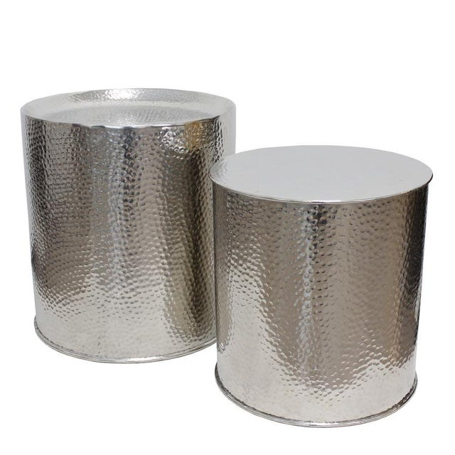 Image of Hammered Silver Zephyr Stools - A Pair