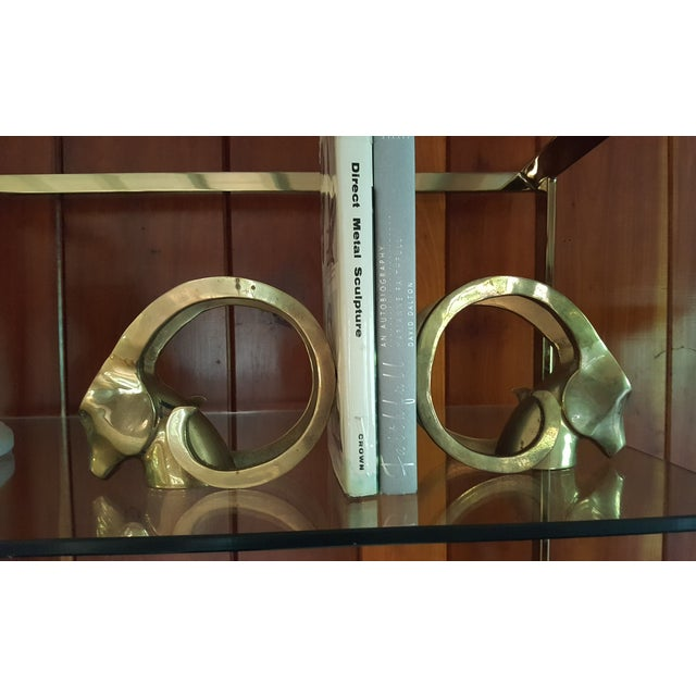 Hollywood Regency Brass Rams Head Bookend - Pair - Image 3 of 5