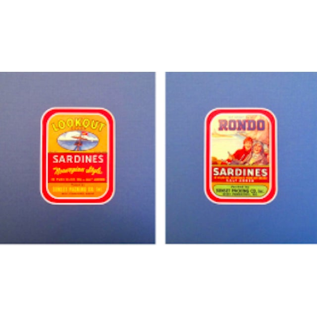 Image of Original Matted 1940s Sardine Labels - A Pair