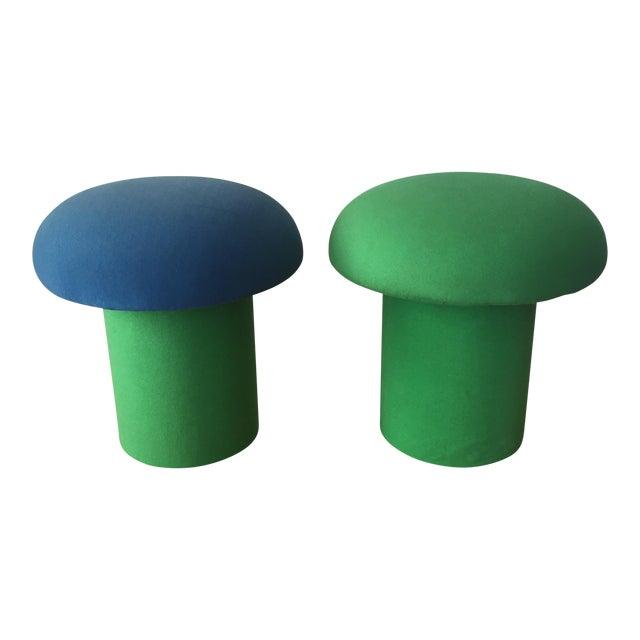 Memphis Style Mushroom Ottomans Stools - a Pair - Image 1 of 9