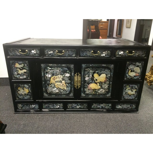 Asian Black Lacquer Mother of Pearl Inlay Chest - Image 2 of 7