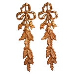 Image of Brass Bow & Leaf Wall Swags - A Pair