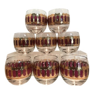 Culver Large Red Scroll Roly Poly Glasses - Set of 8
