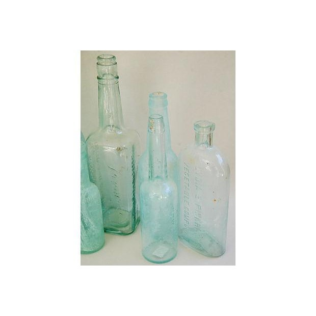 Antique Teal & Blue Glass Bottles - Set of 10 - Image 7 of 8