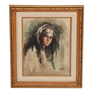 "Original L. William ""Gypsy Woman"" Oil Painting"