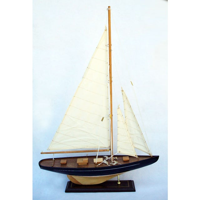 Handmade Wooden Sailboat Model - Image 3 of 4