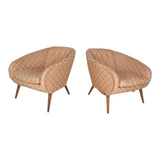 Mid-century Modern Barrel Back Lounge Chairs- a Pair