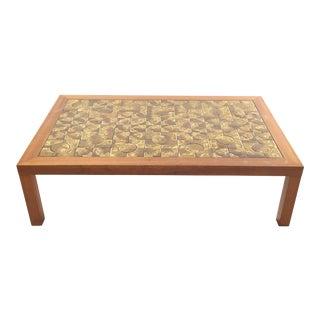 Danish Modern Teak Tile Top Coffee Table