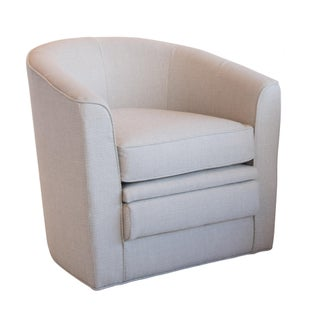Gray Tweed Linen Barrell Back Swivel Chair