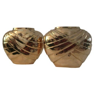 Indian Brass Draped Vases - A Pair