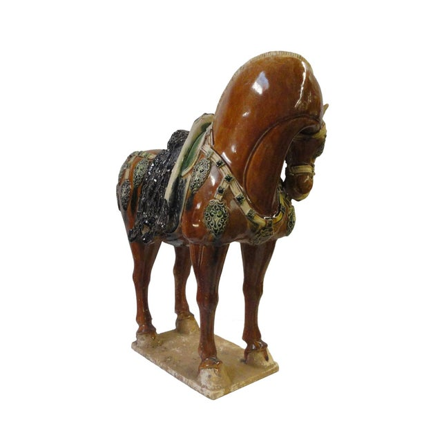 Chinese Porcelain Battle Horse Statue Figurine - Image 3 of 5
