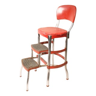 Cosco Mid-Century Red Metal Step Stool
