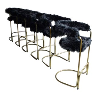 Anton Lorenz Faux Fur Brass Cantilever Bar Stools - Set of 6