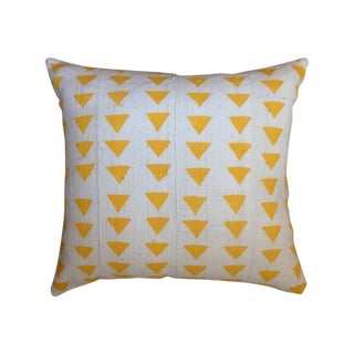 Yellow Triangle Mud Cloth Pillow