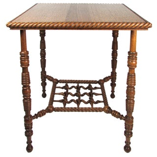 Antique Tiger Oak Parlor Table With Carved Base
