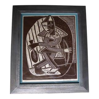 Original Mid Century Cubist Woodblock