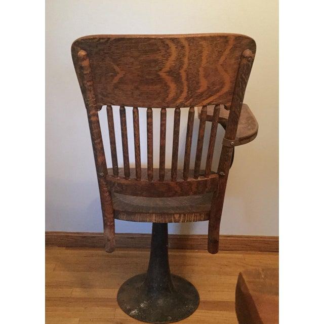 Antique Quarter Sawn Oak University Lecture Hall Chair - Metal Pedestal - Image 5 of 7