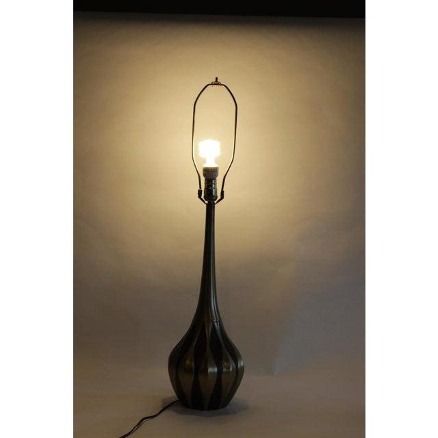 Image of Vintage Gold Toned Metal & Wood Veneered Table Lamp