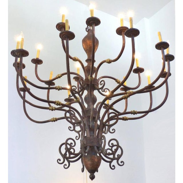 Large Early 1900s Handmade Copper and Brass Chandelier - Image 9 of 9