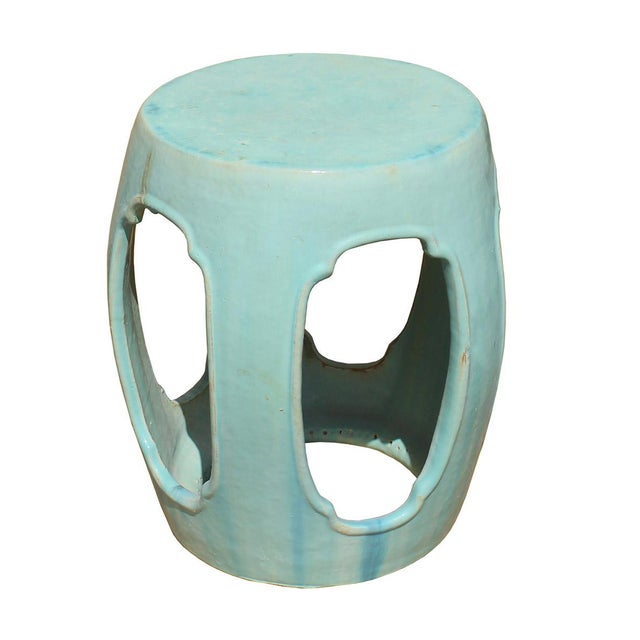 Chinese Round Barrel Light Turquoise Green Ceramic Clay