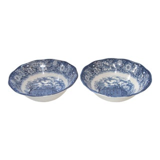 Liberty Blue Staffordshire TransferWare Serving Bowls - A Pair