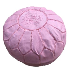 Handmade Pink Leather Pouf