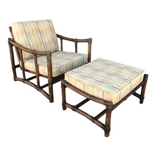 Vintage McGuire Lounge Chair & Ottoman