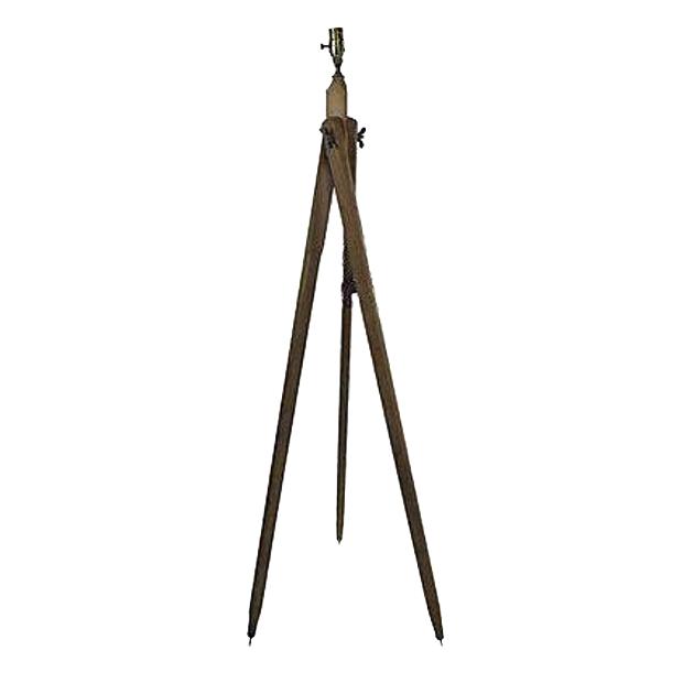 french wood survey tripod lamp