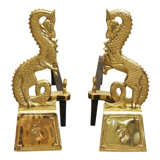 Brass Asian Dragons Andirons - A Pair