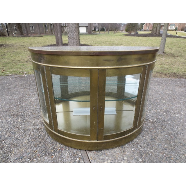 Mastercraft 1970s Lighted Demi-Lune Brass Console - Image 2 of 10