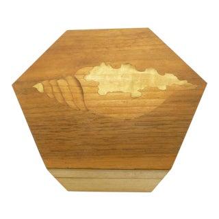 Vintage Hexagon Sea Shell Inlay Wood Box - Italy