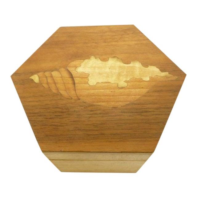 Vintage Hexagon Sea Shell Inlay Wood Box - Italy - Image 1 of 7