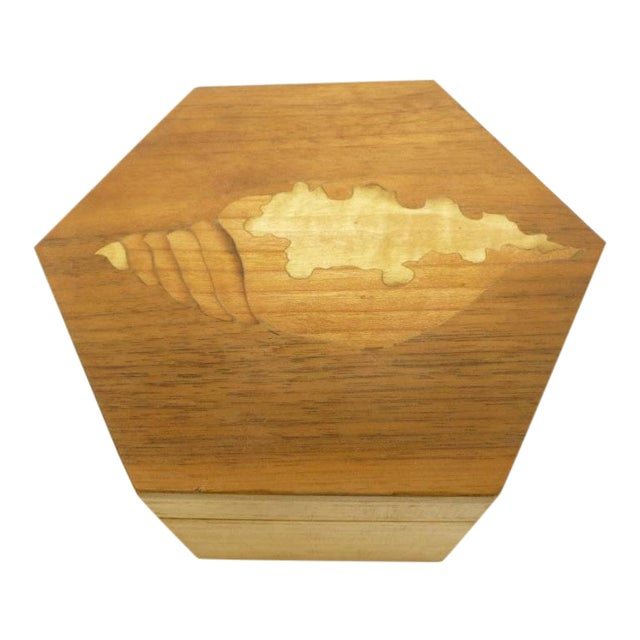 Vintage Hexagon Sea Shell Marquetry Inlay Wood Keepsake Box - Italy - Image 1 of 7