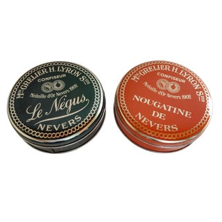 Orange and Green French Candy Tin Cans