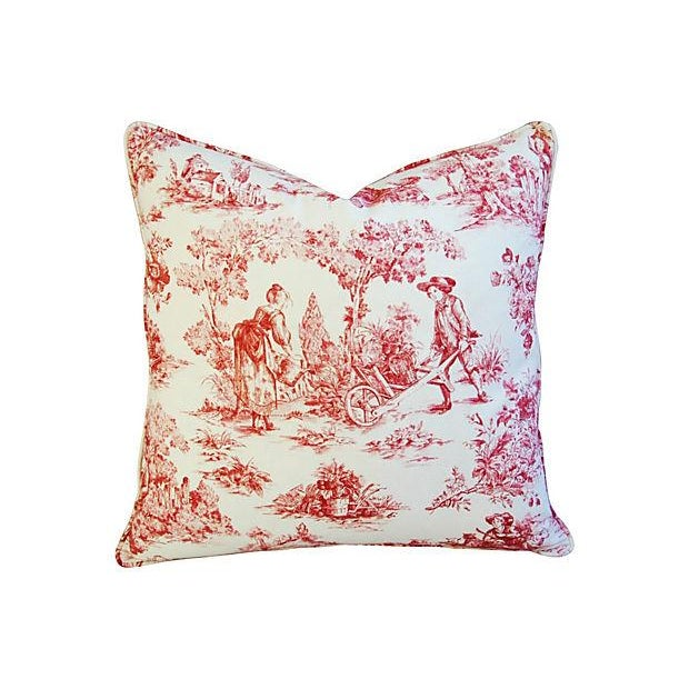 French Country Toile Pillows - A Pair - Image 3 of 6