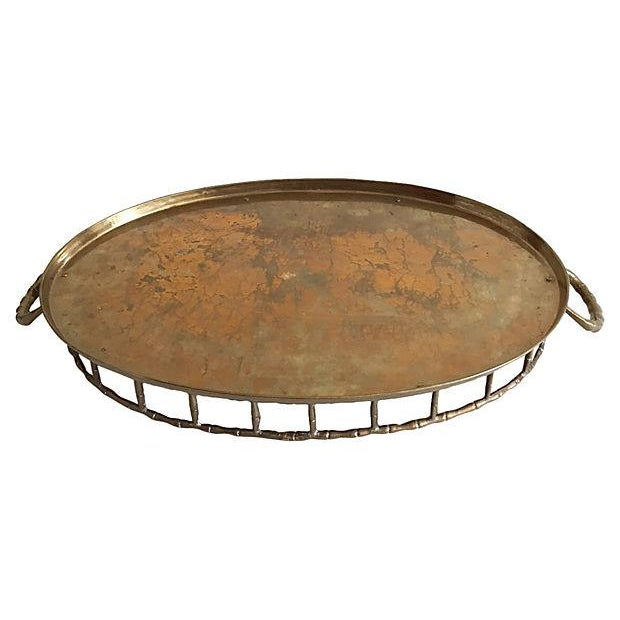 Vintage Faux-Bamboo Brass Gallery Handled Tray - Image 5 of 5