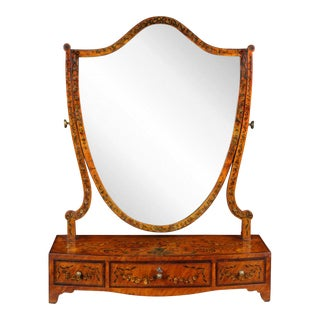 George III Painted Satinwood Dressing Mirror