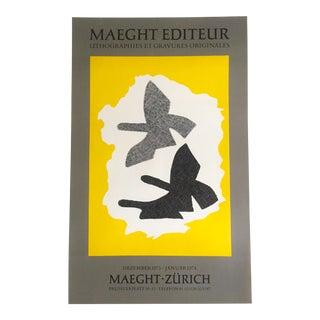 1973 Vintage Georges Braque Original Lithograph Print Poster Maeght Editeur