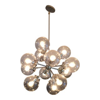 Polished Nickel & Glass Bistro Chandelier