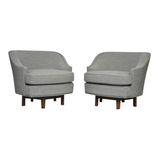 Dunbar Swivel Chairs by Edward Wormley in Gray Tweed