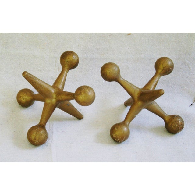 Mid-Century Large Cast Iron Gold Jacks - A Pair - Image 9 of 9