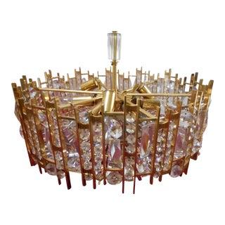 Lobmeyr Lightolier Gilt Brass & Crystal Glass Chandelier