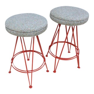 Googie Style Mid-Century Counter Stools - A Pair