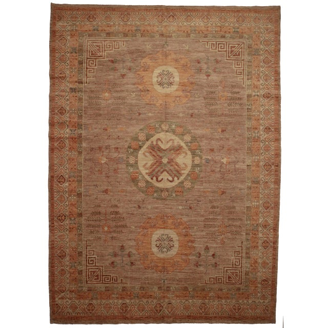 "RugsinDallas Pakistani Wool Natural Dyes Rug - 9'7"" X 13'5"" - Image 1 of 2"
