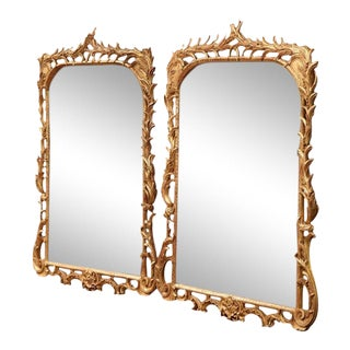 Mid-20th Century French Louis XV Carved Giltwood Mirrors - a Pair