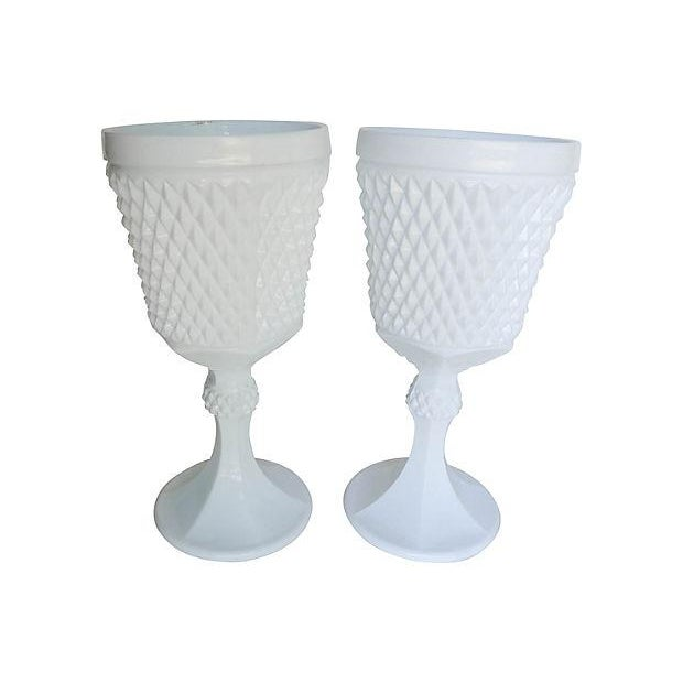 Image of Vintage Milk Glass Urns - A Pair
