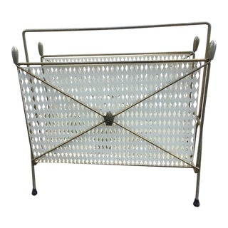 Mid-Century Atomic White and Gold Magazine Rack