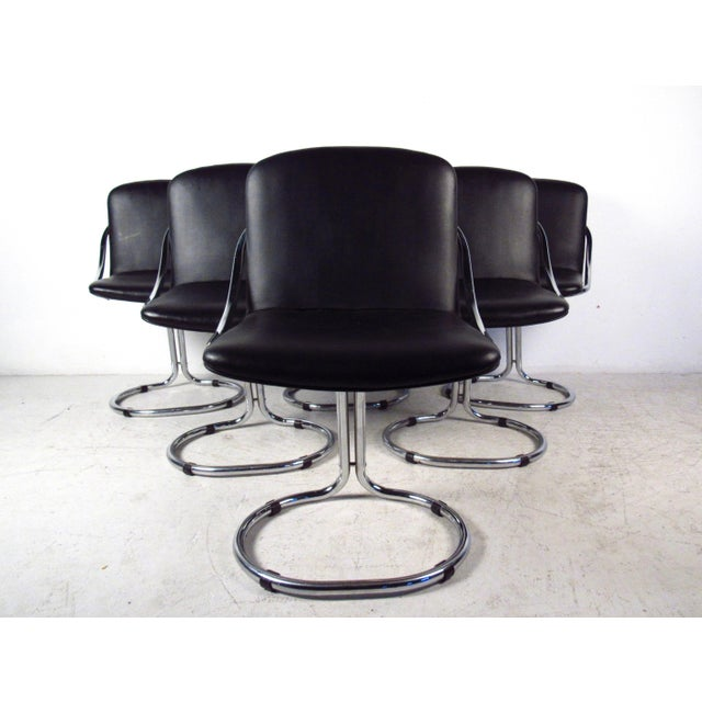 Modern Chrome & Vinyl Dining Chairs - Set of 6 - Image 4 of 11